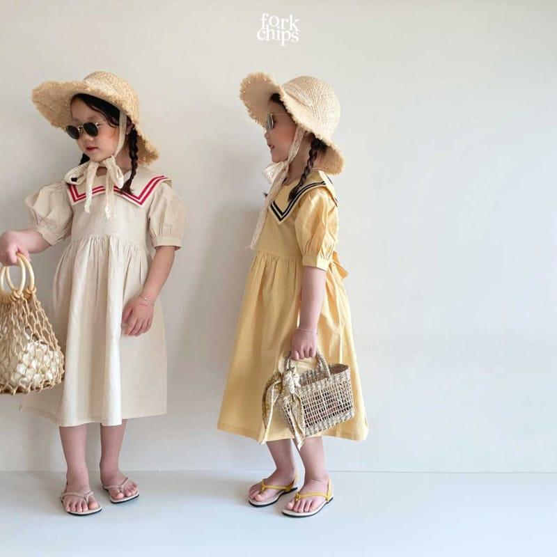 FORK CHIPS - Korean Children Fashion - #Kfashion4kids - Twin Salior One-piece - 6