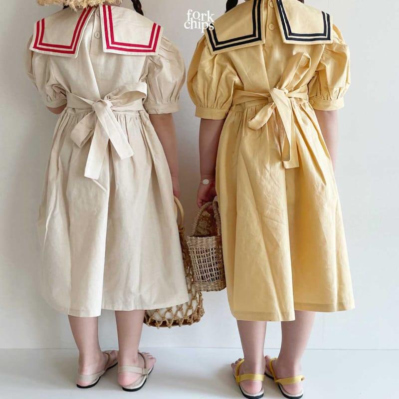 FORK CHIPS - Korean Children Fashion - #Kfashion4kids - Twin Salior One-piece - 7