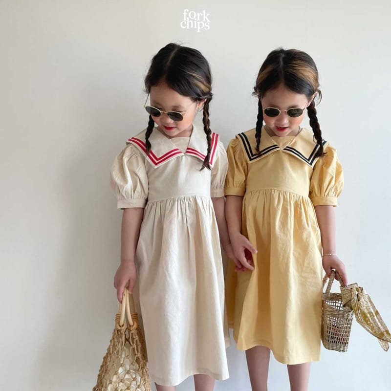 FORK CHIPS - Korean Children Fashion - #Kfashion4kids - Twin Salior One-piece - 8