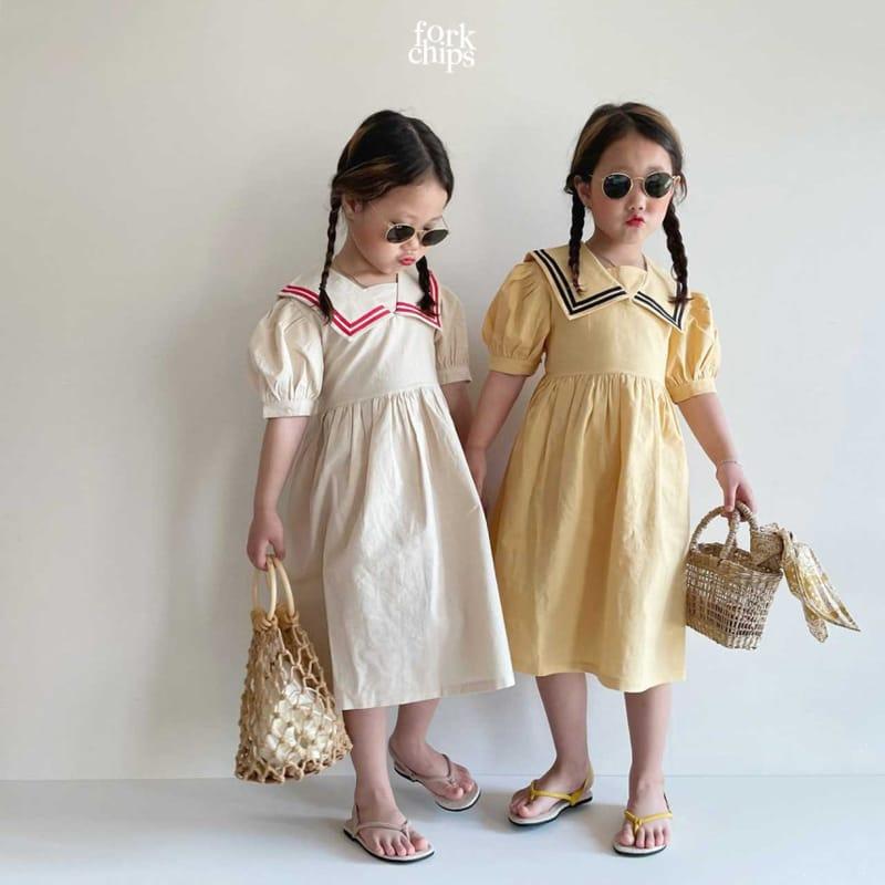 FORK CHIPS - Korean Children Fashion - #Kfashion4kids - Twin Salior One-piece - 9