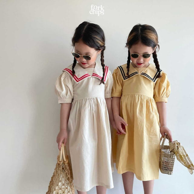 FORK CHIPS - BRAND - Korean Children Fashion - #Kfashion4kids - Twin Salior One-piece