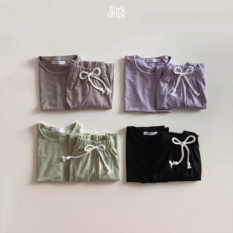 FORK CHIPS - Korean Children Fashion - #Kfashion4kids - Softly Top Bottom Set