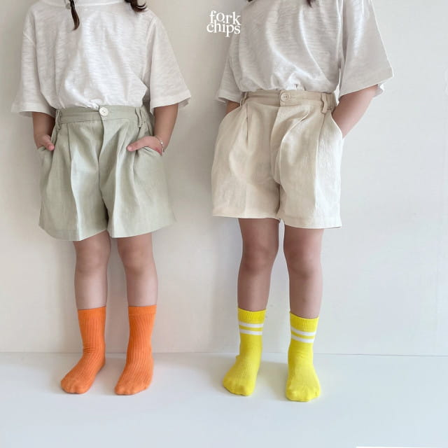 FORK CHIPS - BRAND - Korean Children Fashion - #Kfashion4kids - Seasoning Half Wide Pants
