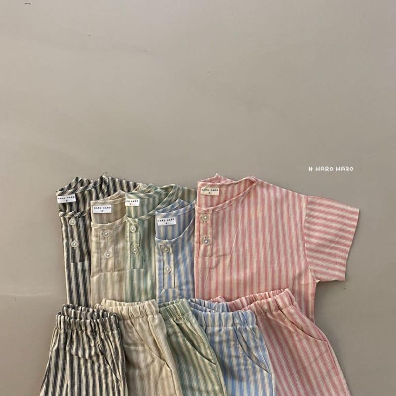 HARO HARO - Korean Children Fashion - #Kfashion4kids - Wilds Stripes Top Bottom Set