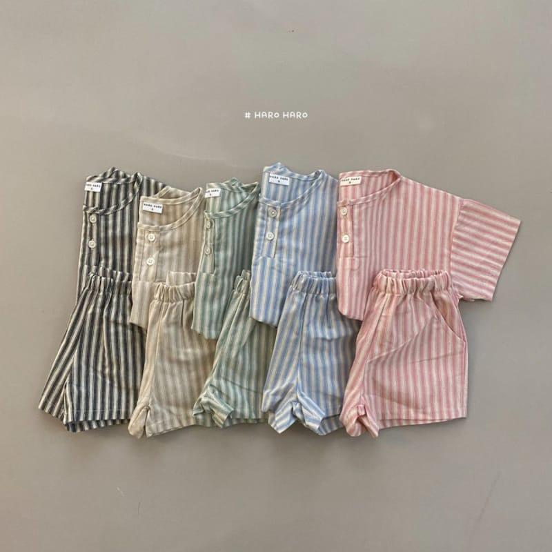 HARO HARO - Korean Children Fashion - #Kfashion4kids - Wilds Stripes Top Bottom Set - 3