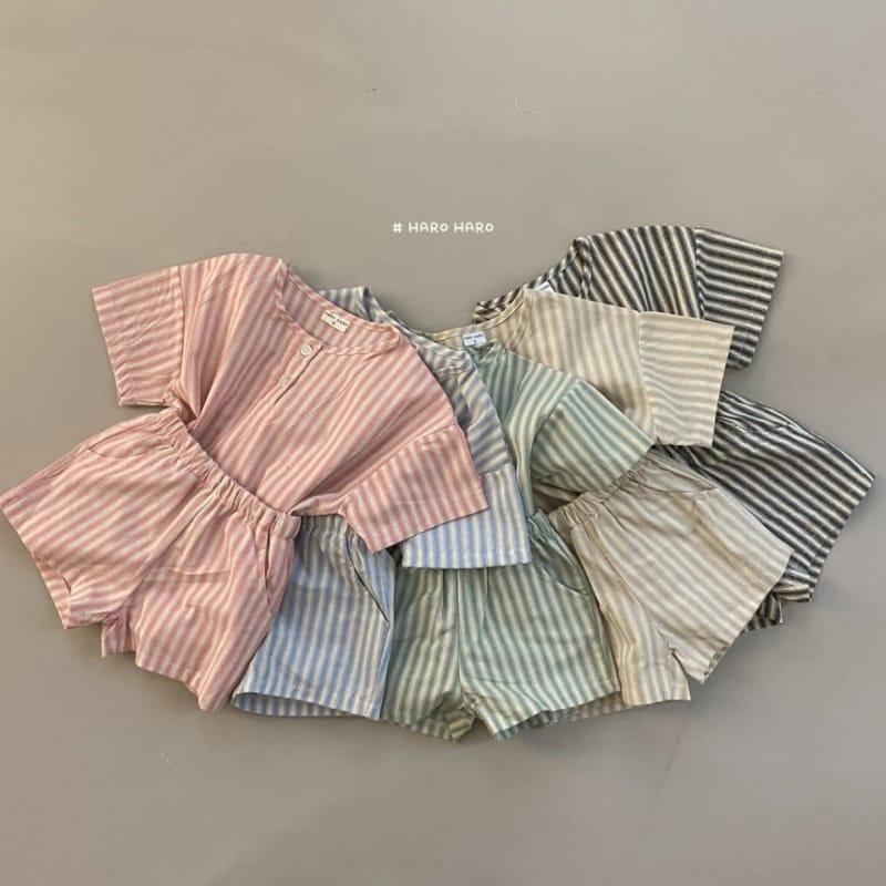 HARO HARO - BRAND - Korean Children Fashion - #Kfashion4kids - Wilds Stripes Top Bottom Set