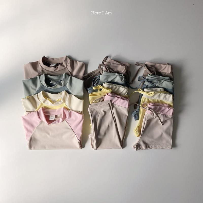 HERE I AM - Korean Children Fashion - #Kfashion4kids - Barney Rashguard Top Shorts Set