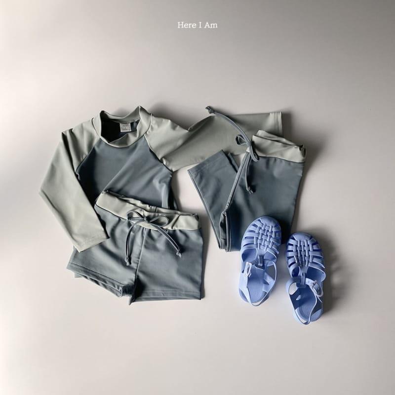 HERE I AM - Korean Children Fashion - #Kfashion4kids - Barney Rashguard Top Shorts Set - 4