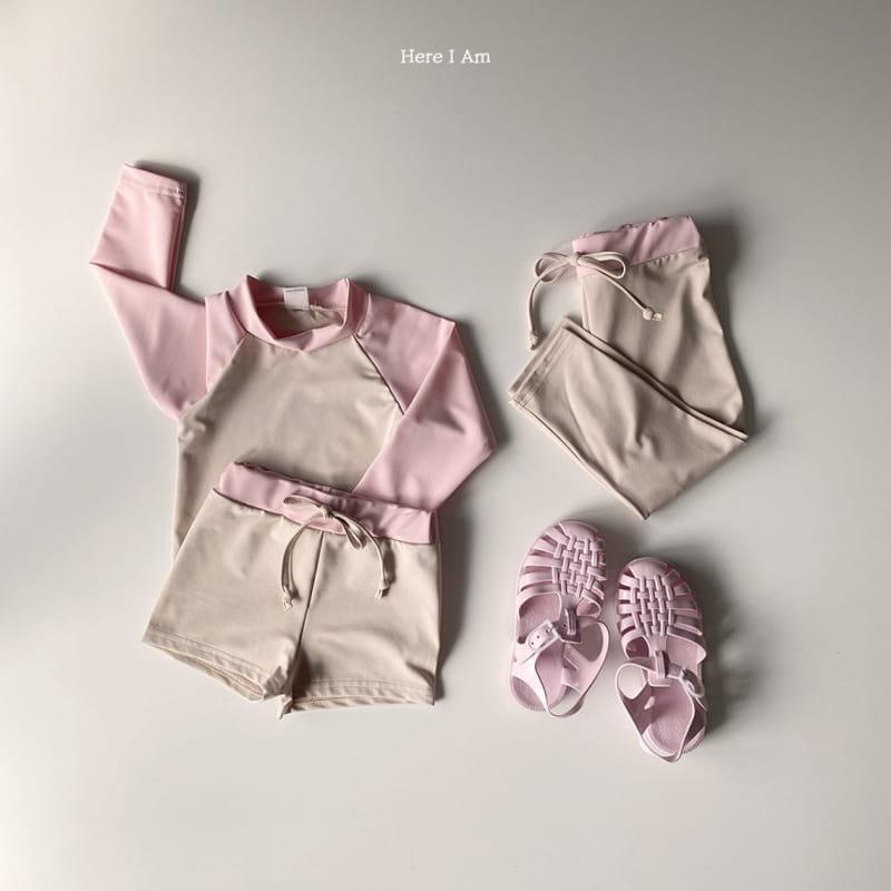 HERE I AM - Korean Children Fashion - #Kfashion4kids - Barney Rashguard Top Shorts Set - 6