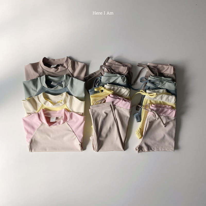 HERE I AM - BRAND - Korean Children Fashion - #Kfashion4kids - Barney Rashguard Top Shorts Set