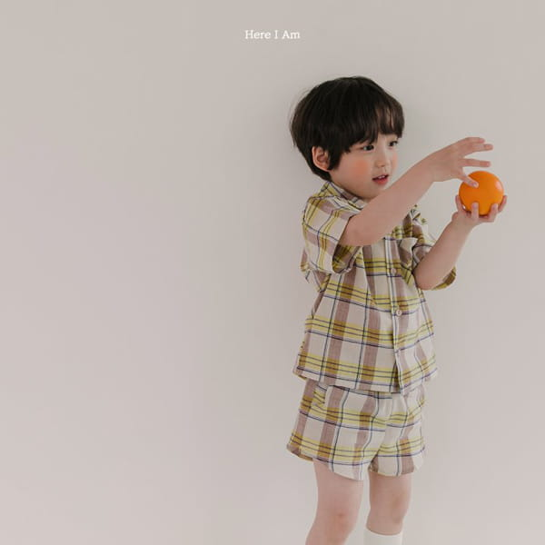 HERE I AM - Korean Children Fashion - #Kfashion4kids - Croiffle Check Top Bottom Set - 5