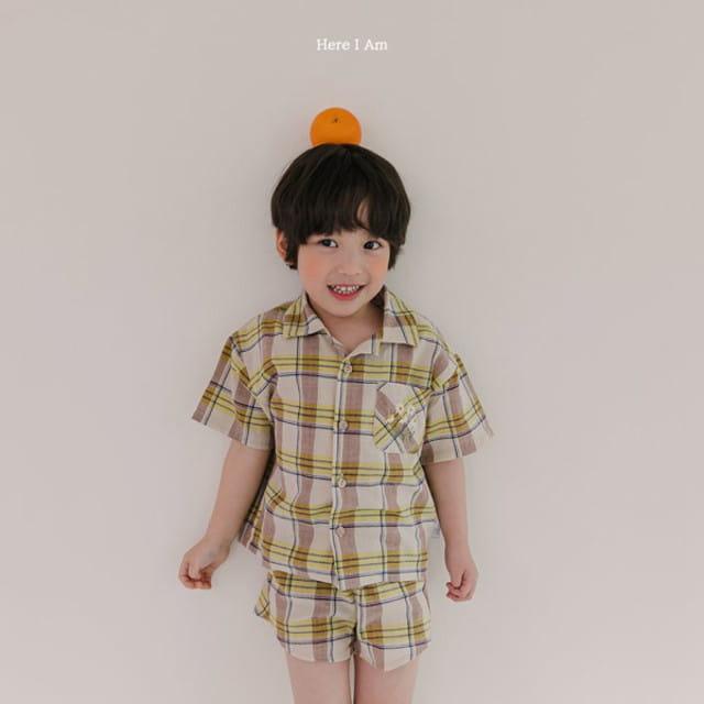 HERE I AM - BRAND - Korean Children Fashion - #Kfashion4kids - Croiffle Check Top Bottom Set