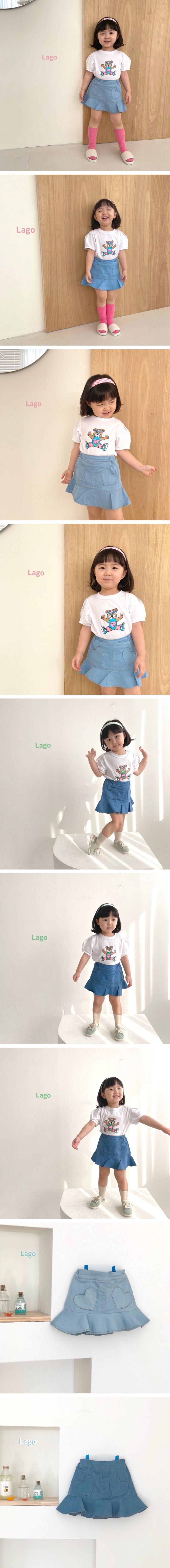 LAGO - Korean Children Fashion - #Kfashion4kids - Summer Heart Denim Skirt