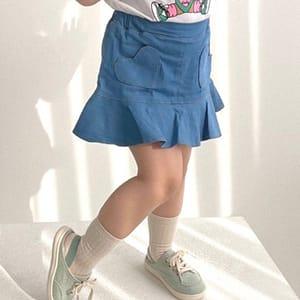 LAGO - BRAND - Korean Children Fashion - #Kfashion4kids - Summer Heart Denim Skirt