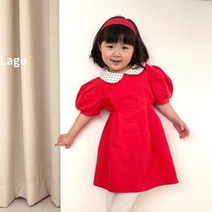 LAGO - BRAND - Korean Children Fashion - #Kfashion4kids - Linen Collar One-piece