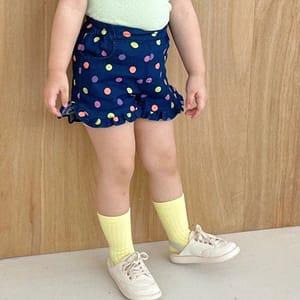 LAGO - BRAND - Korean Children Fashion - #Kfashion4kids - Neon Dot Frill Pants