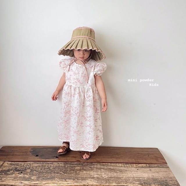 MINI POWDER - BRAND - Korean Children Fashion - #Kfashion4kids - Back Slit Flower One-piece