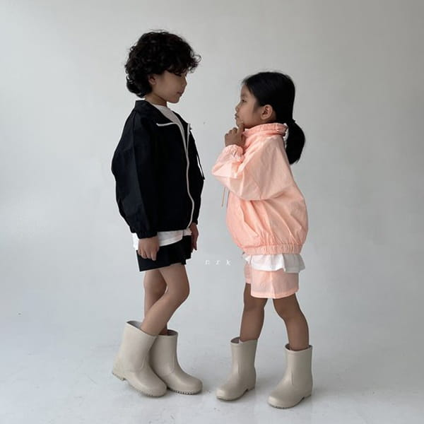 NRK - Korean Children Fashion - #Kfashion4kids - Crunch Zip-up Top Bottom Set - 6