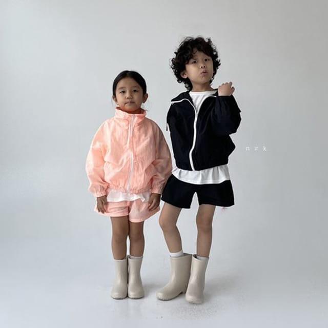 NRK - BRAND - Korean Children Fashion - #Kfashion4kids - Crunch Zip-up Top Bottom Set