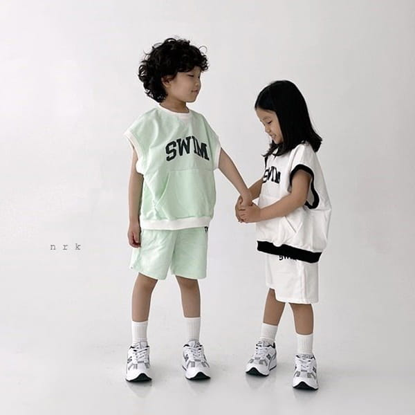 NRK - Korean Children Fashion - #Kfashion4kids - Swim Sleeveless Top Bottom Set - 3