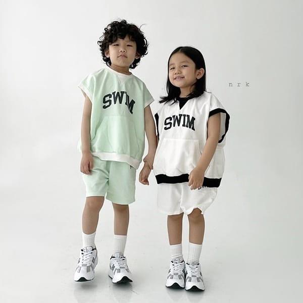 NRK - Korean Children Fashion - #Kfashion4kids - Swim Sleeveless Top Bottom Set - 6