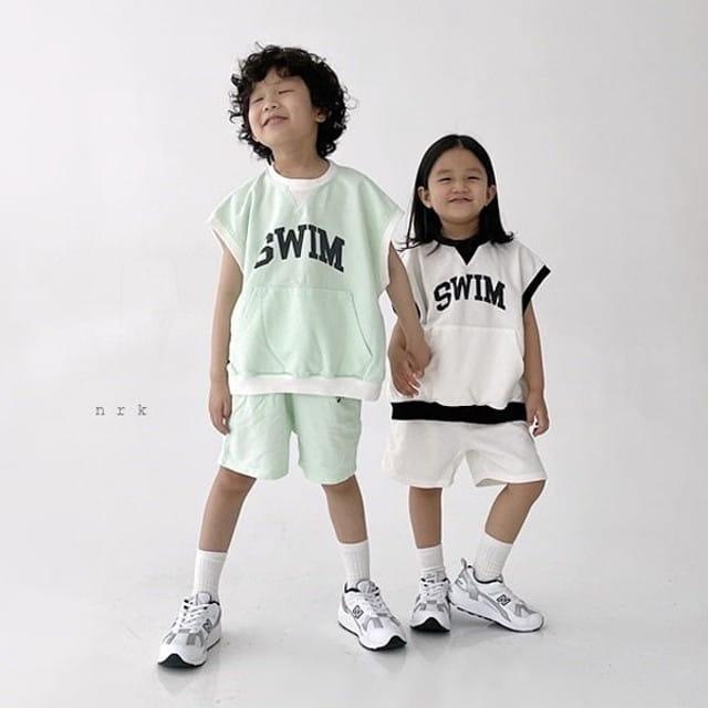 NRK - BRAND - Korean Children Fashion - #Kfashion4kids - Swim Sleeveless Top Bottom Set