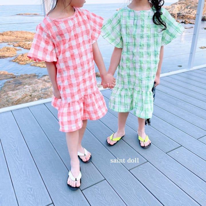SAINT DOLL - Korean Children Fashion - #Kfashion4kids - Mom Check Neon One-piece - 3