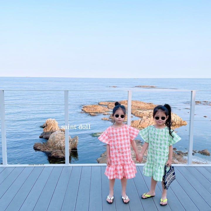 SAINT DOLL - Korean Children Fashion - #Kfashion4kids - Mom Check Neon One-piece - 4