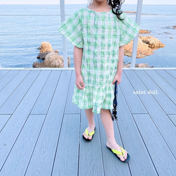 SAINT DOLL - Korean Children Fashion - #Kfashion4kids - Mom Check Neon One-piece - 6