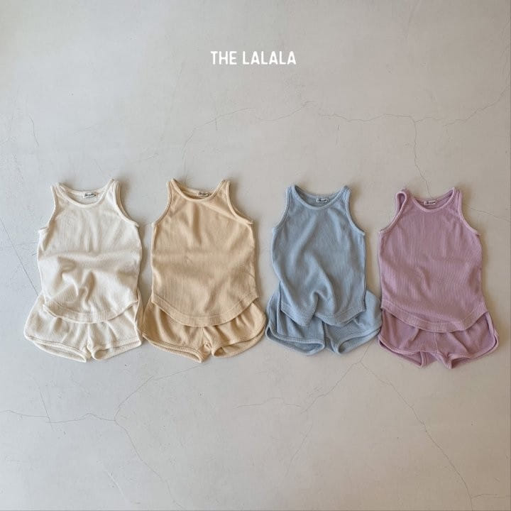 THE LALALA - Korean Children Fashion - #Kfashion4kids - Waffle Sleeveless Bottom Set