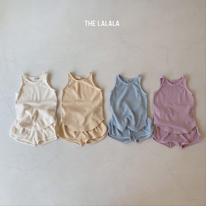 THE LALALA - Korean Children Fashion - #Kfashion4kids - Waffle Sleeveless Bottom Set - 2