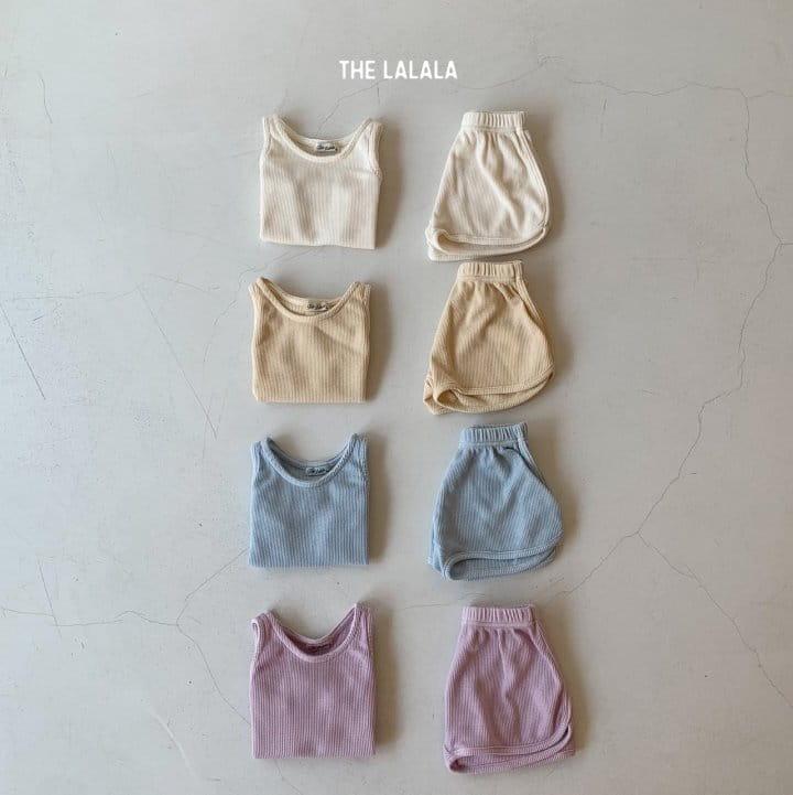 THE LALALA - Korean Children Fashion - #Kfashion4kids - Waffle Sleeveless Bottom Set - 3