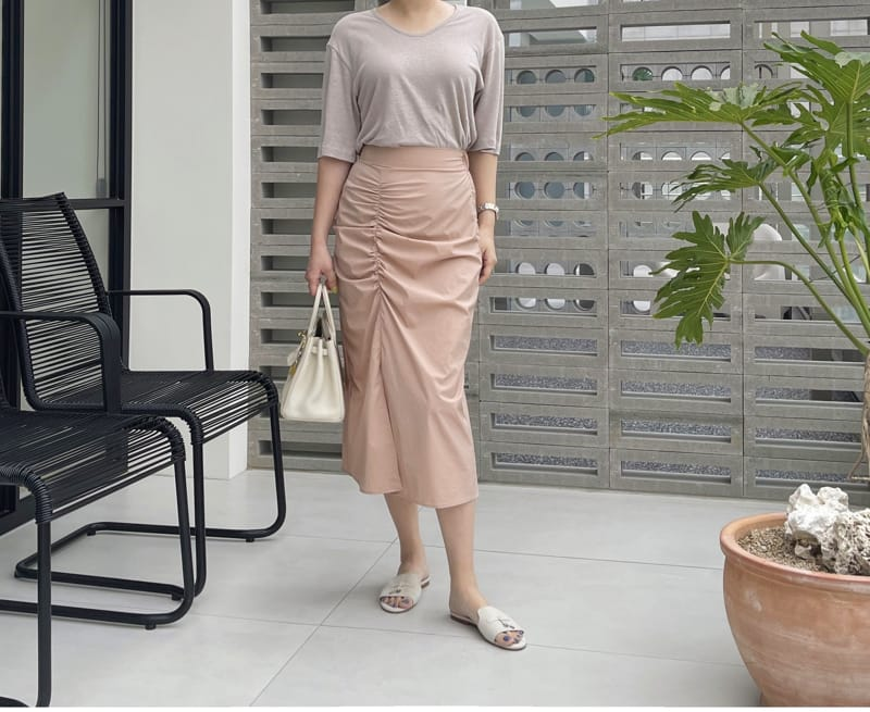 AFTER GLOW - Korean Children Fashion - #Kfashion4kids - Shirring Bending Skirt