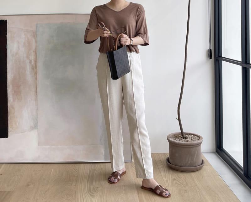AFTER GLOW - Korean Children Fashion - #Kfashion4kids - Linen U Neck Tee - 3
