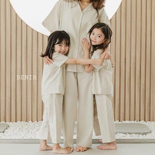 BENIR - BRAND - Korean Children Fashion - #Kfashion4kids - Linen Top Bottom Set with Mom