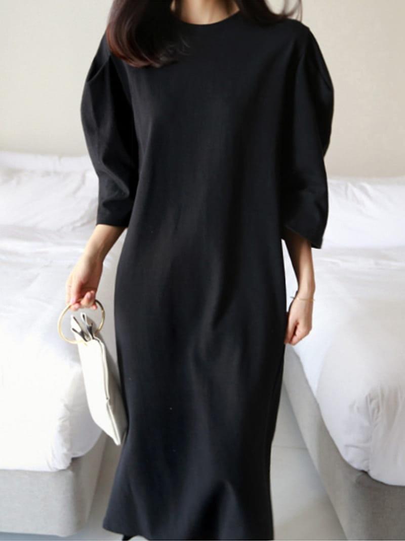 BLACKBANANA - Korean Children Fashion - #Kfashion4kids - Capri Puffed Sleeves One-piece - 4