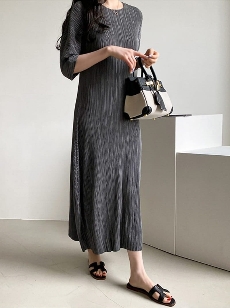 BLACKBANANA - Korean Children Fashion - #Kfashion4kids - Maxi Wrinkle One-piece - 2