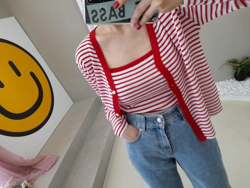 BLEND - Korean Children Fashion - #Kfashion4kids - Marine Stripes Sleeveless Cardigan Set