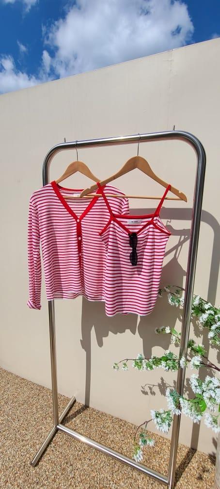BLEND - Korean Children Fashion - #Kfashion4kids - Marine Stripes Sleeveless Cardigan Set - 3