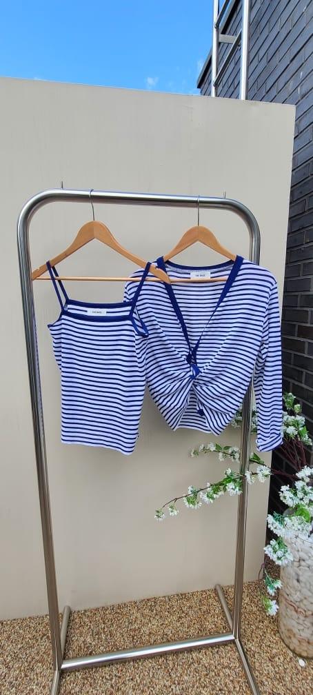 BLEND - Korean Children Fashion - #Kfashion4kids - Marine Stripes Sleeveless Cardigan Set - 4