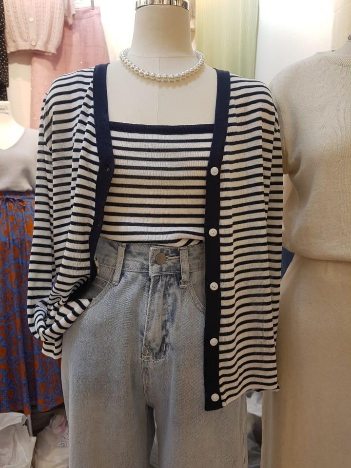 BLEND - Korean Children Fashion - #Kfashion4kids - Marine Stripes Sleeveless Cardigan Set - 5