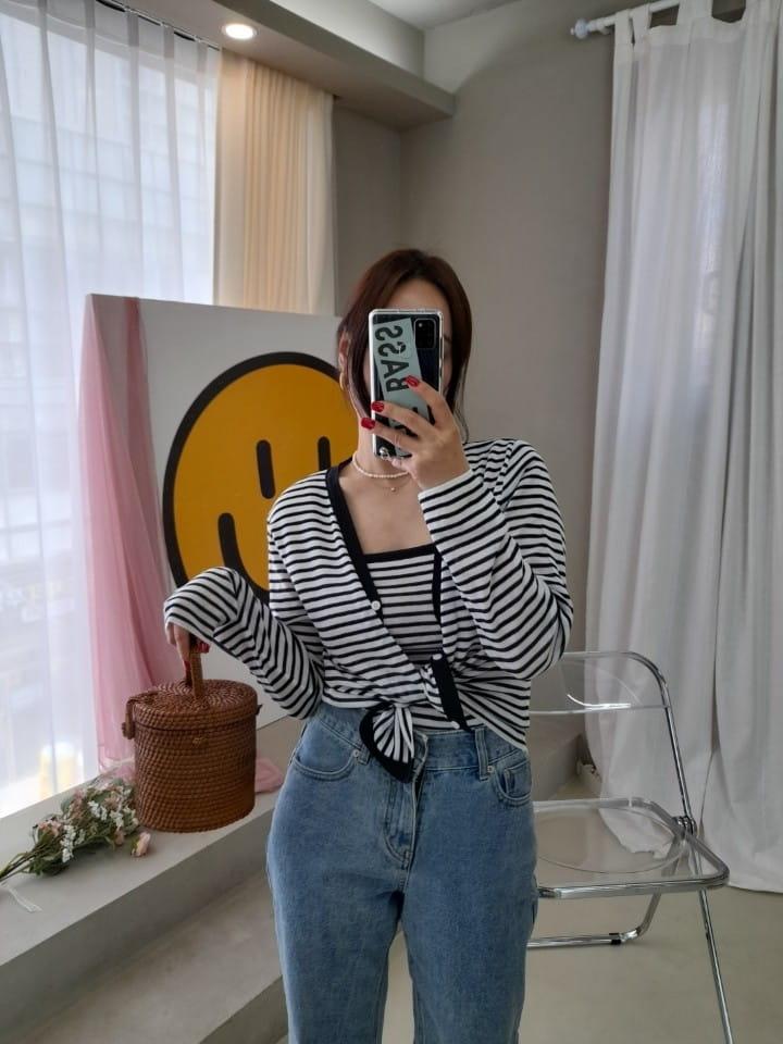 BLEND - BRAND - Korean Children Fashion - #Kfashion4kids - Marine Stripes Sleeveless Cardigan Set