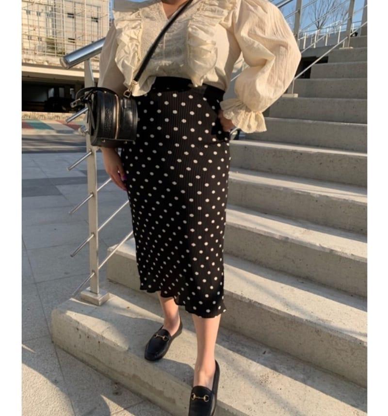 BLEND - Korean Children Fashion - #Kfashion4kids - Dot Pleated Long Skirt
