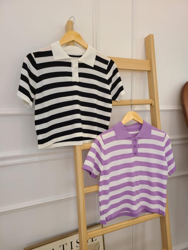 BLEND - Korean Children Fashion - #Kfashion4kids - Stripes Collar Knit - 2