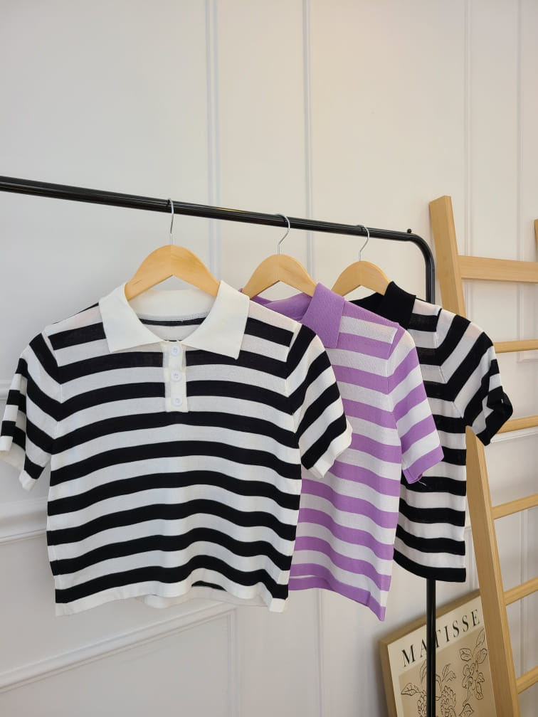 BLEND - BRAND - Korean Children Fashion - #Kfashion4kids - Stripes Collar Knit