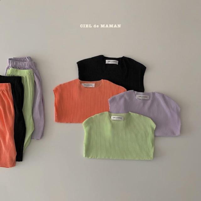 CIEL DE MAMAN - BRAND - Korean Children Fashion - #Kfashion4kids - Mom Color Pleats Top Bottom Set