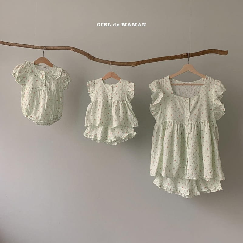 CIEL DE MAMAN - Korean Children Fashion - #Kfashion4kids - Mom Flower Top Bottom Set
