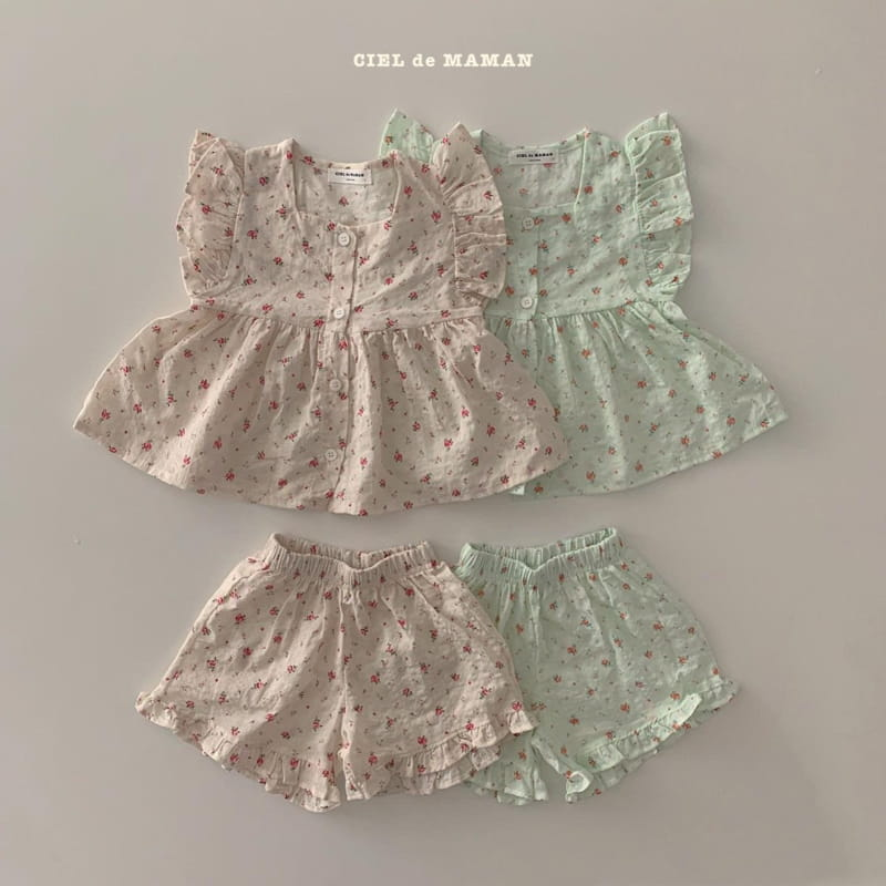 CIEL DE MAMAN - Korean Children Fashion - #Kfashion4kids - Mom Flower Top Bottom Set - 4