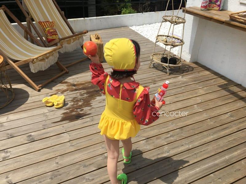 CONCOCTER - Korean Children Fashion - #Kfashion4kids - Bean Button One-piece Swimwear