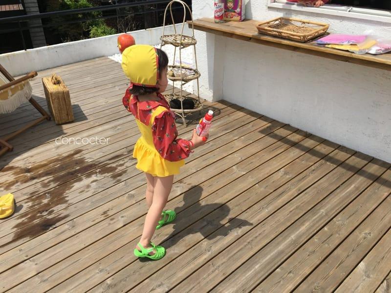 CONCOCTER - Korean Children Fashion - #Kfashion4kids - Bean Button One-piece Swimwear - 3